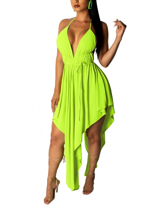 Sheerly Open Back Green Irregular Hem Midi Dress Tie Garment