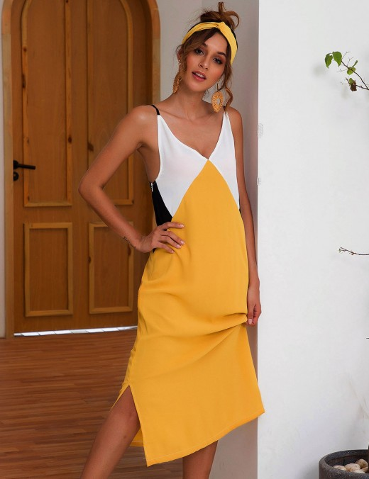 Noticeable Slit Open Back Yellow Color Matching Midi Dress