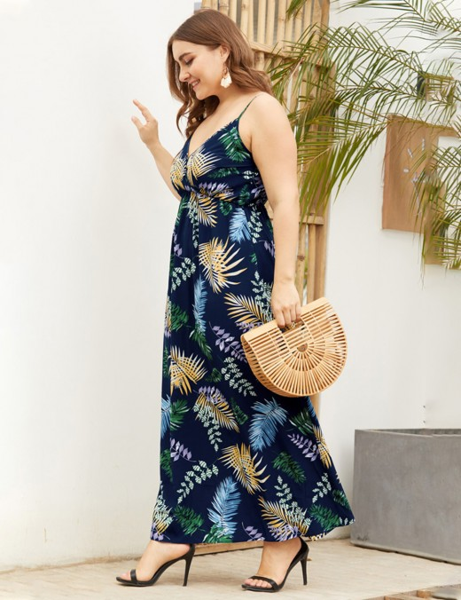 Navy Blue Wrap Backless V Collar Big Size Maxi Dress Women Fashion Style