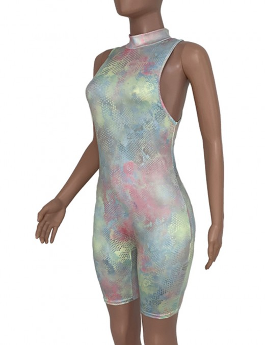 Figure-Hugging Tie-Dye Print Sleeveless Mini Bodycon Romper Women