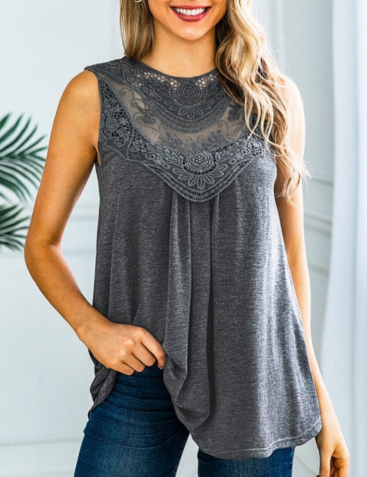 Dramatic Shank Button Grey Hollow Lace Patchwork Tank Top Trendy Clothes