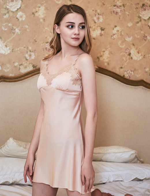 Provocative Rose Gold Mini Length Lace Open Back Waist Belt Bedgown Set