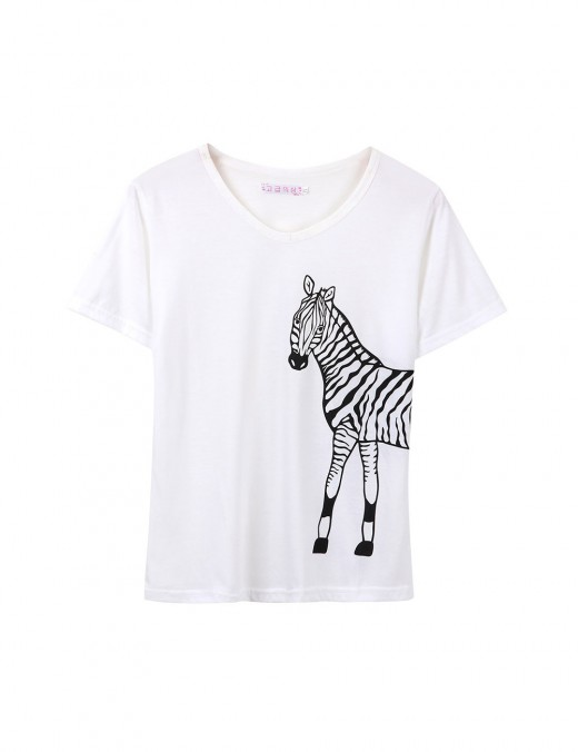 Wholesale Short Sleeve Zebra Pocket Sleepwear Set Wholesale