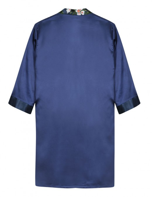 Blue Faux Silk Waist Belt Print Male Bedgown Wholesale Affordable