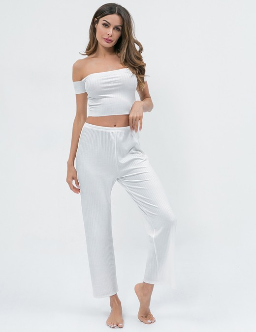 Dreamgirl White Bare Shoulder Cropped Sleepwear Set Plain For Beauty Females