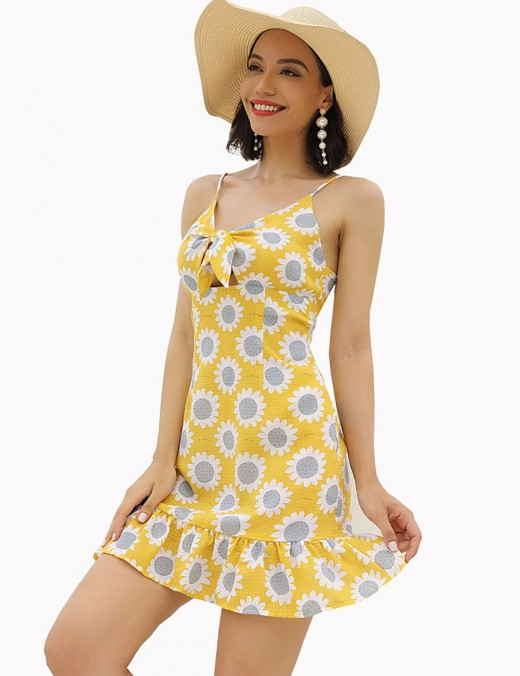 Sweety Yellow Sunflower Hollow Tie Flare Hem Mini Dress Women Outfits