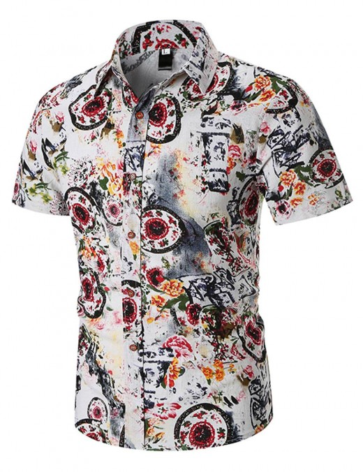 Retro Red Print Button Short Sleeve Male Shirt Big Size