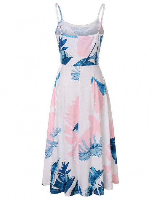 Eye Catcher  Leaf Print Sling Open Back Skater Dress For Traveling