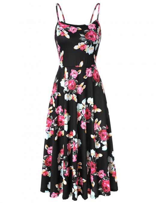 Vibrant Print Slender Strap Backless Skater Dress Forward Women