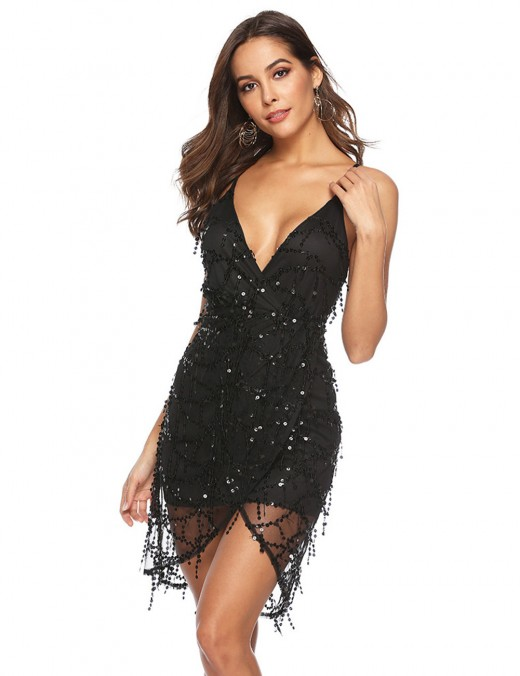 Pretty Black Sequined Perspective Deep V-Neck Bodycon Dress For Female
