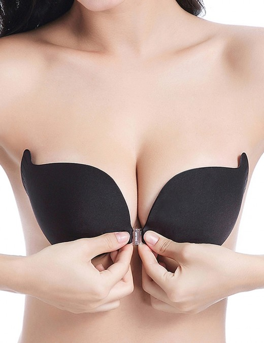 Black Push Up Front Closure Padded Invisible Bra Super Sexy
