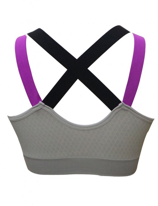 Popularity Grey U Neck Crisscross Active Bra Open Back For Vacation