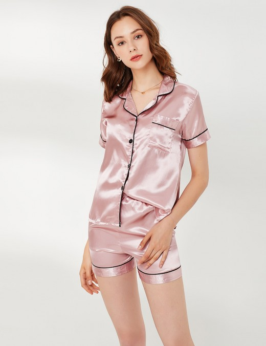 Intrigued Pink Pocket Button Lapel Neck Short Sleepwear Set Nice Quality