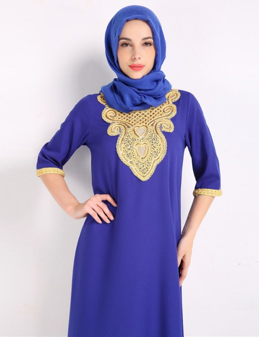 Sassy Blue Crew Neck Islamic Embroidered Maxi Dress Slit Great Quality