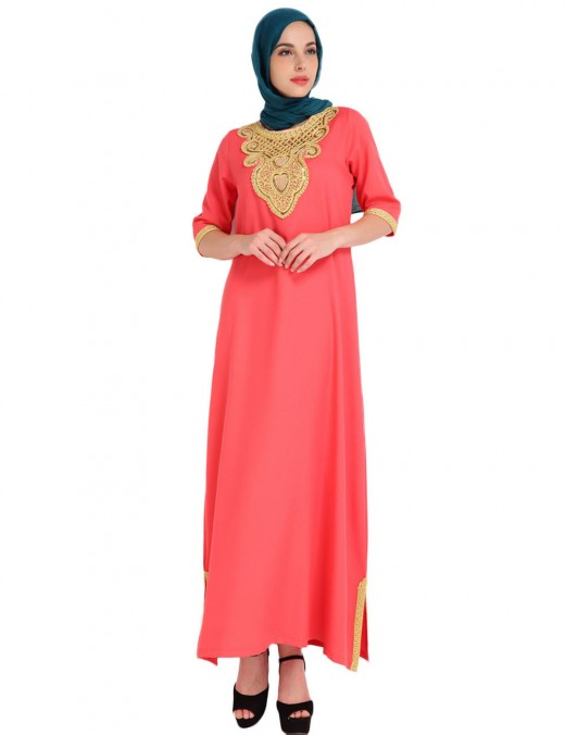 Causal Orange Slit Islamic 3/4 Sleeve Maxi Dress Embroidery High Quality