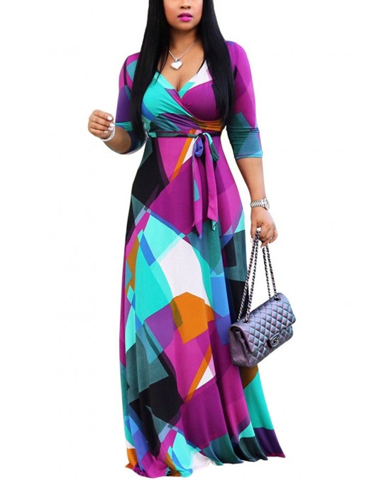 Dreamy V Collar Plus Size Contrast Color Maxi Dress Girls Fashion