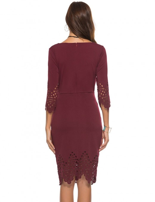 Curve Smoothing Wine Red Zipper Back Round Neck Hollow Bodycon Dress