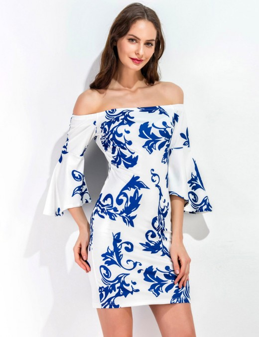 Stretchy Off Shoulder Flare Sleeve Bodycon Dress Print Fast Shipping
