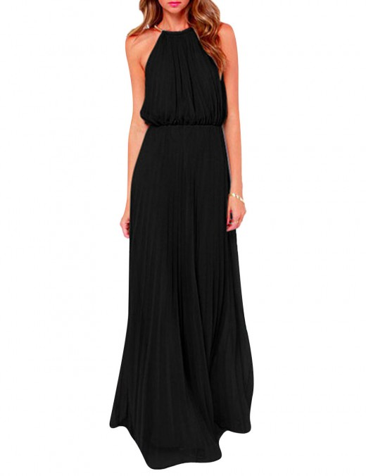 Flowing Black Pleated Hollow Plain Halter Evening Dress Tailored Quality