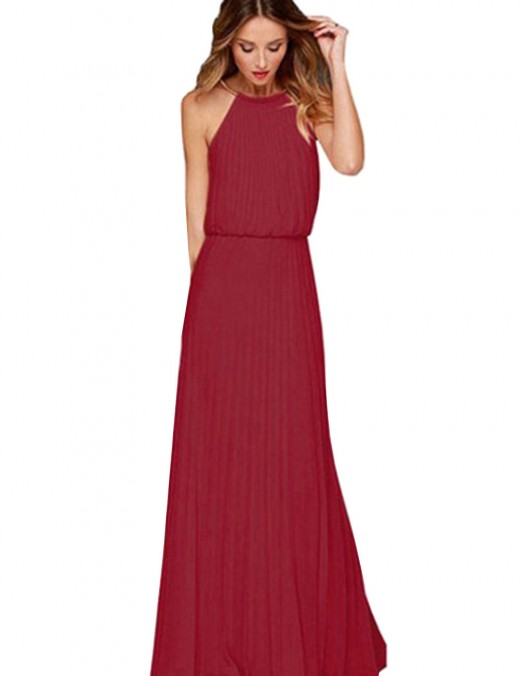 Close Fitting Wine Red Non-Sleeve Halter Solid Color Evening Dress Womens