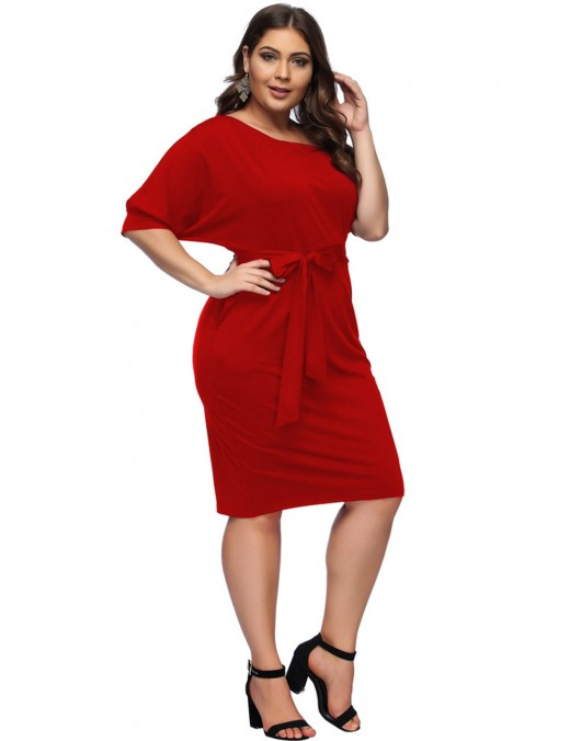 Nicely Red Sloping Shoulder Big Size Waist Belt Midi Dresses For Women