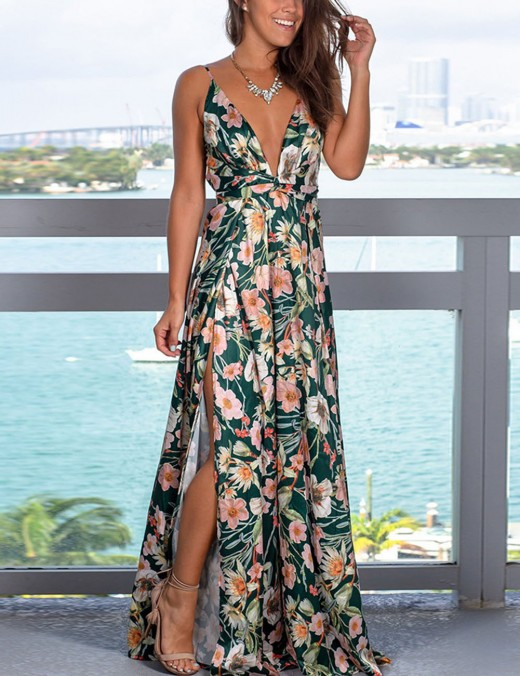 Impeccable Flower Zip Slit Open Back Maxi Dress Sling Women Outfit