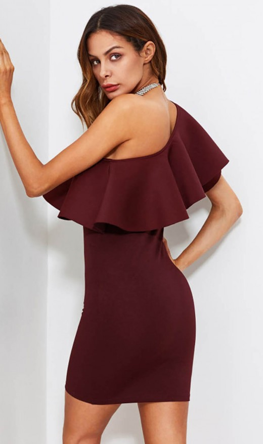 Wine Red Mini Length Sloping Shoulder Flounce Evening Dress New Fashion
