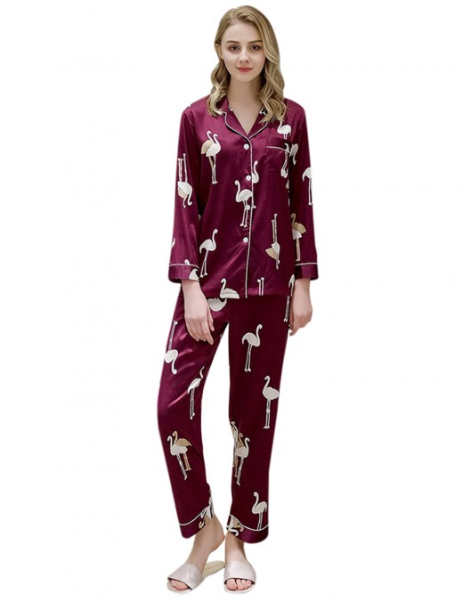 Effortless Wine Red Elastic Waist Lapel Neck Pajama Pocket Slim Fit Style