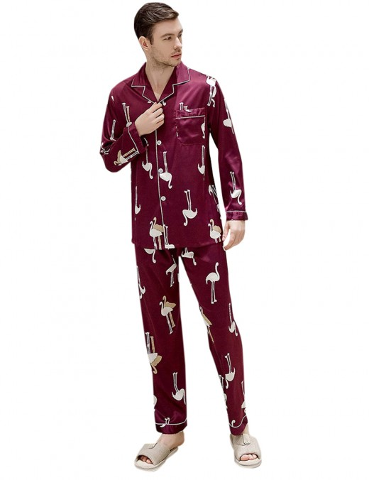 Attractive Wine Red Button Down Pocket Lapel Neck Pajama Men Comfort