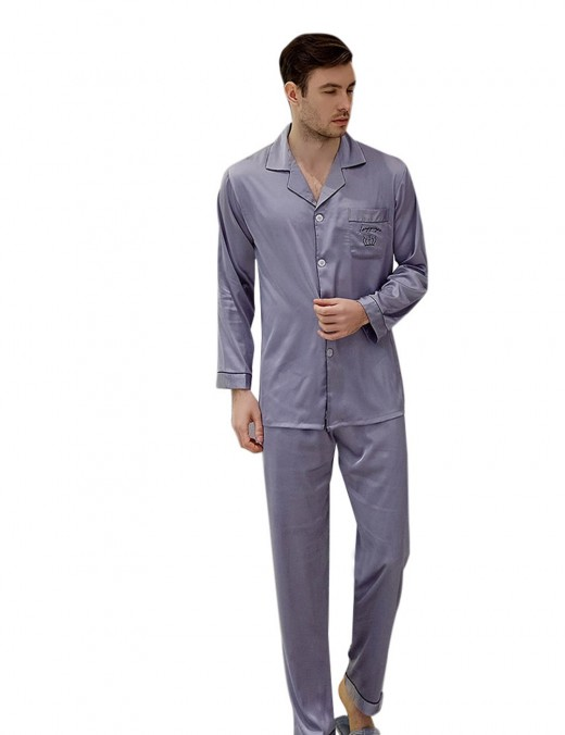 Supper Fashion Light Purple Button Pocket Print Lapel Neck Pajama Men Style