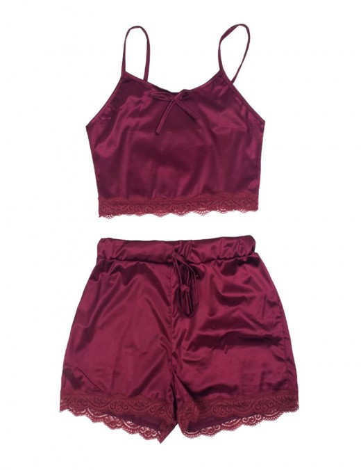 Ultra Wine Red Sling Tie Lace Trim Sleepwear Set Large Size Mature Female
