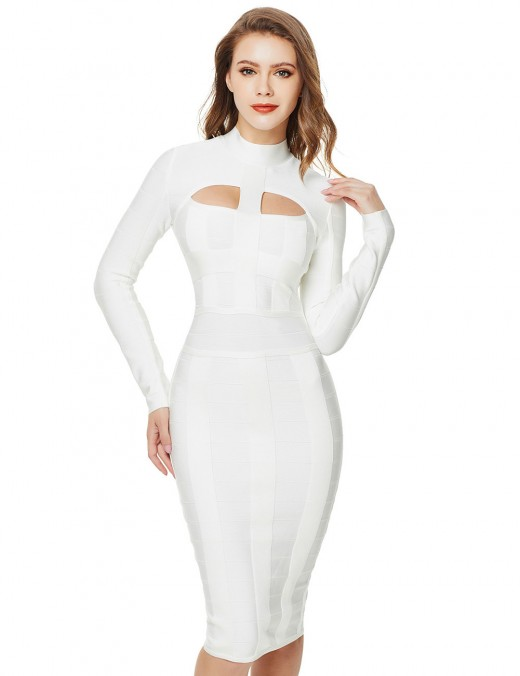 Ultimate Comfort White Long Sleeve Hollow Bandage Dress Stand Collar