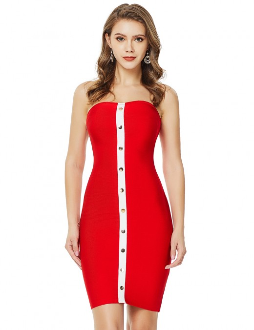 Holiday Red Bandeau Button Contrast Color Bandage Dress Zip