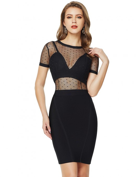 Lovely Black Mesh Patchwork Backless Bandage Dress Zip Fabulous Fit