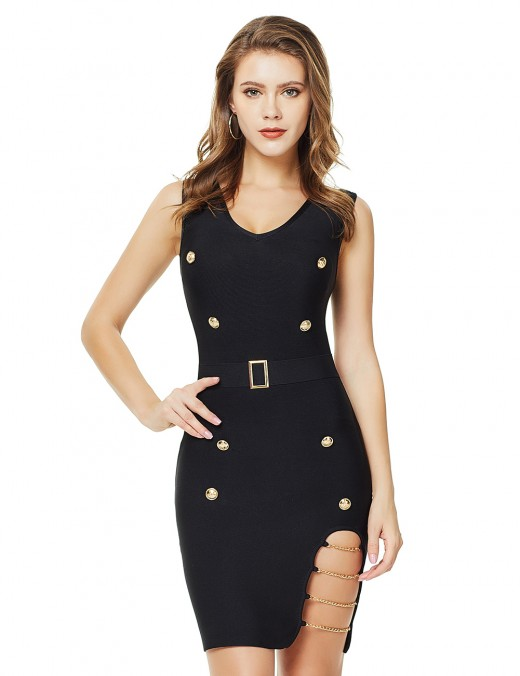 Absorbing Metal Buttons Slit Chain Bandage Dress Zip Ladies Grace