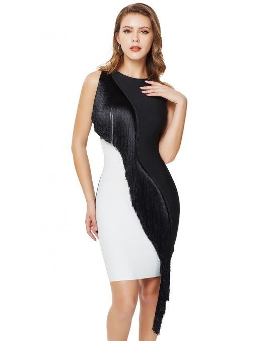 Summary Tassel Contrast Color Bandage Dress Sleeveless Super Faddish