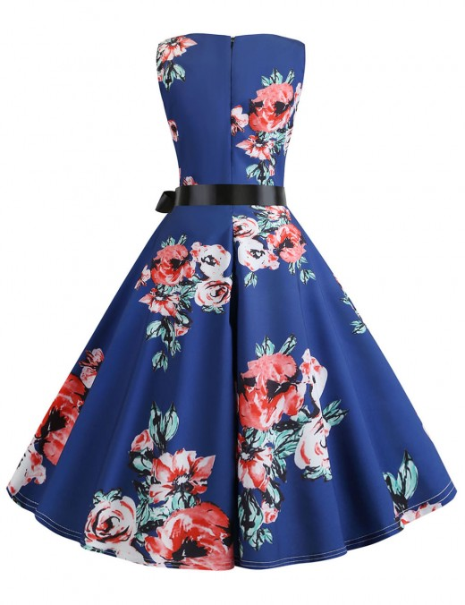 Bewitching Non-Sleeve Flower Flare Hem Skater Dress Zipper For Beauty