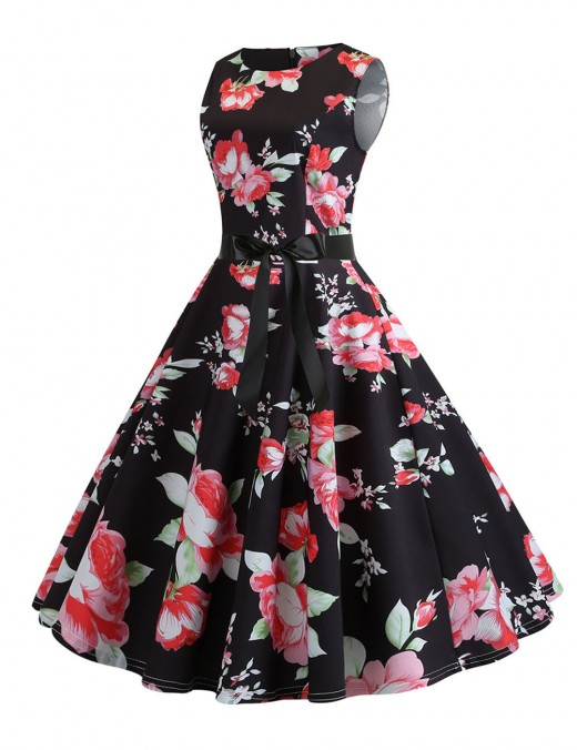 Luscious Curvy Bow Tie Print Crew Neck Flare Hem Skater Dress Faddish