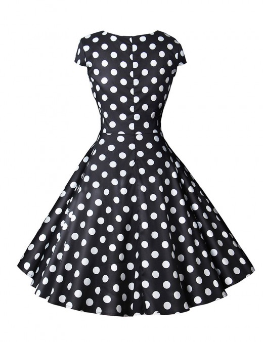 Brightly Ruched Zipper Flare Hem Dot Skater Dress Wrap All Over Smooth