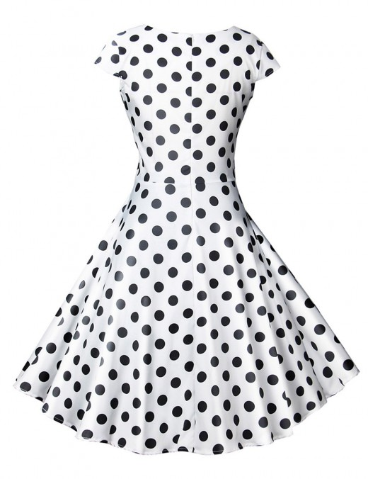 Appealing White Wrap Polka Dot Short Sleeve Skater Dress Zip