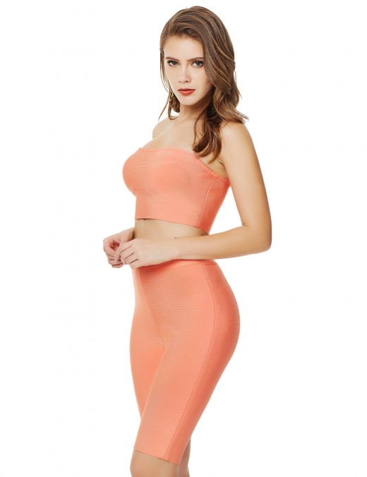 Dainty High Waist Orange Zipper Cropped Suit Bandeau Exotic Girls