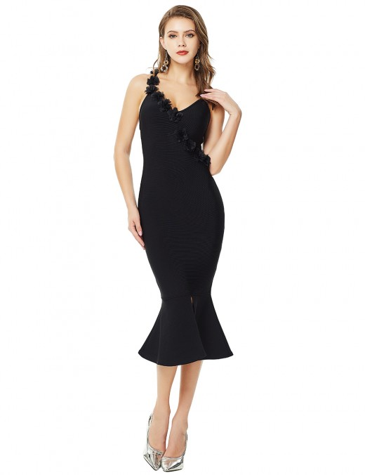 Black Three Dimensional Flower Fishtail Bandage Dress For Women
