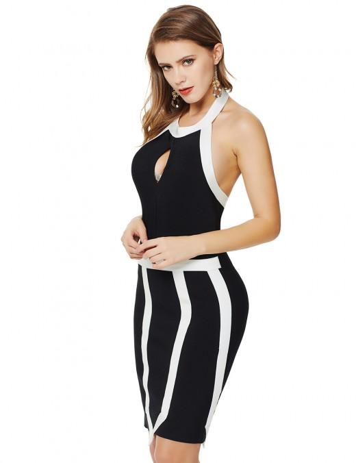 Black Keyhole Contrast Color Zipper Bandage Dress Halter Female Fashion