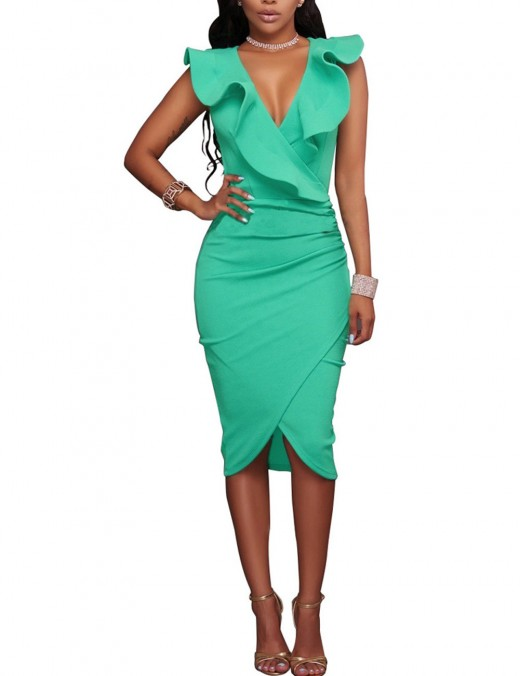 Light Green Ruched Wrap Flounce Sleeveless V Neck Bodycon Dress Comfort Women