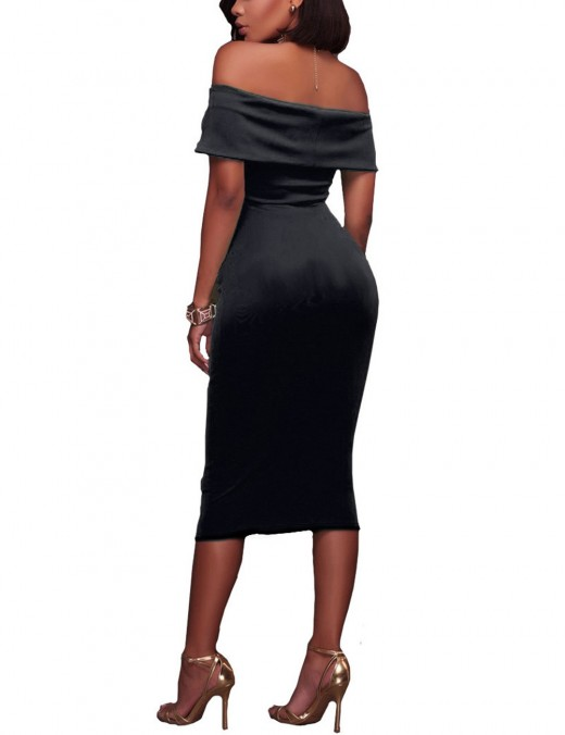 Romantic Black Shirred Cape Flat Shoulder Backless Bodycon Dress Forward Women