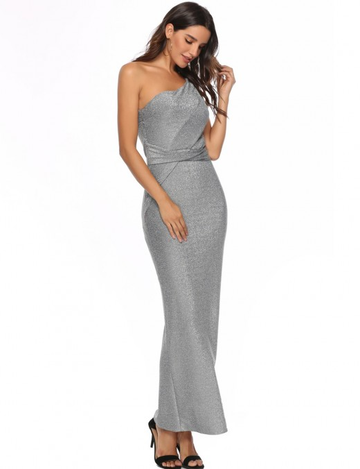 Staple Silver Shoulder Slant Hot Stamping Zip Evening Dress Slit Casual Wear