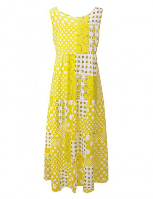 Delicate Large Size Yellow Crew Neck Sleeveless Maxi Dress For Woman