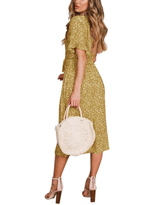 Yellow Lace Patchwork Tie Front Floral Midi Dress Superior Quality