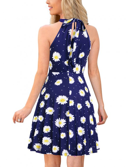 Minimalist Flower Print Halter Hollow Tie Back Skater Dress For Vacation
