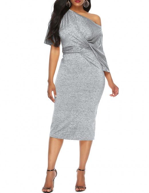 Grey Slant Shoulder Short Sleeve Ruched Bodycon Dress Natural Women Fashion